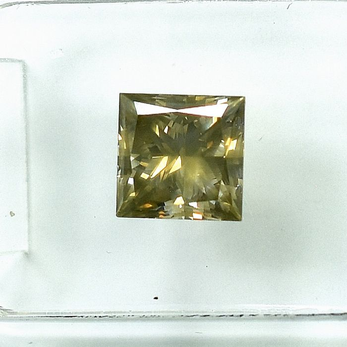 Diamant - 1.56 ct - Princesse - Natural Fancy Grayish Brown - Si1 - VG/VG