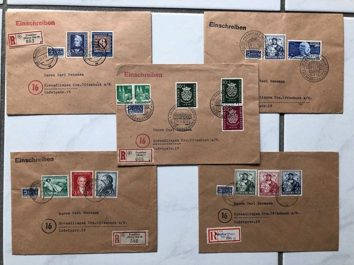 République fédérale d'Allemagne 1949/1950 - High-quality letter lot with very good frankings - Michel