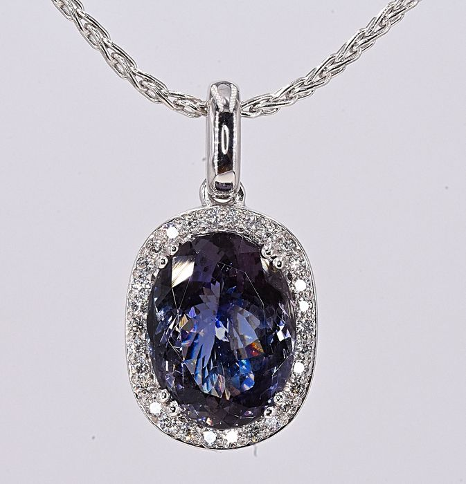 18 karaat Witgoud - Ketting - 6.97 ct GIA Tanzanite - Diamanten