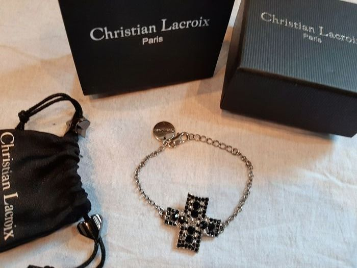 Christian Lacroix Bracelet with cross in hematite and crystal