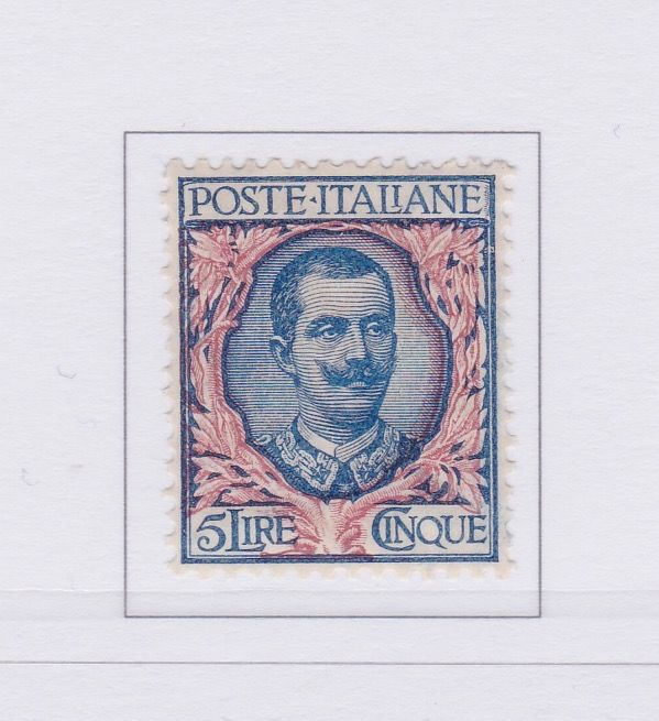 Italien 1901 - Kingdom 5L. blue pink, effigy of Vittorio Emanuele III with various floral decorations - Sassone