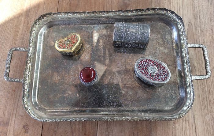 jewelry boxes and tray - Silverplate
