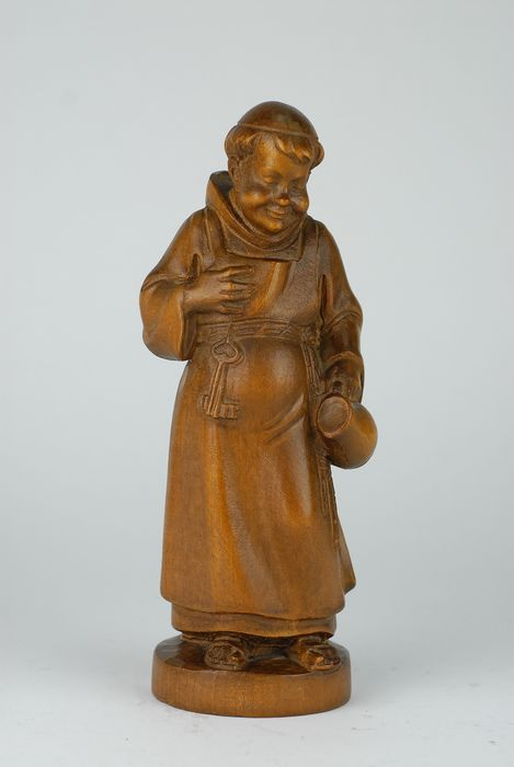 Hand carved wooden sculpture figurine of a Monk or Friar - Wood