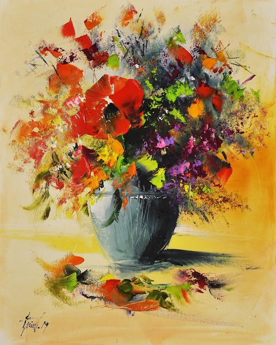 Alfred Anioł - Flowers in a vase