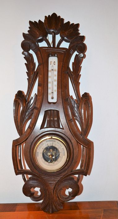 Art Nouveau hand-carved wooden holosteric barometer