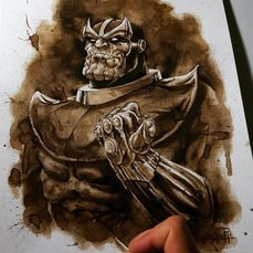 Coffee painting - Thanos - Originele kunst - (2018)