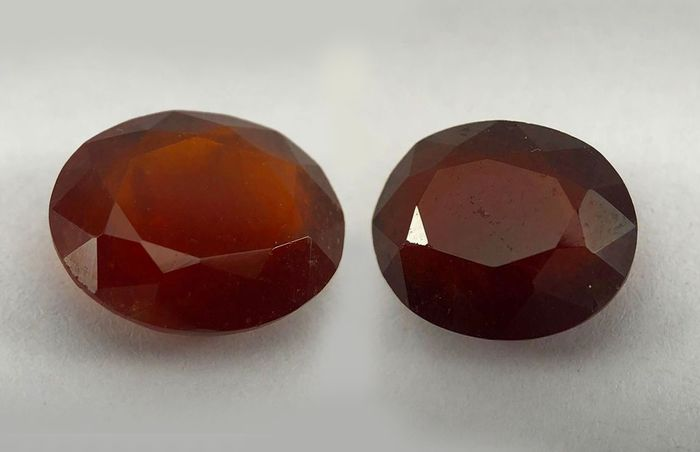 2 pcs Orange brun foncé Grenat hessonite - 13.69 ct