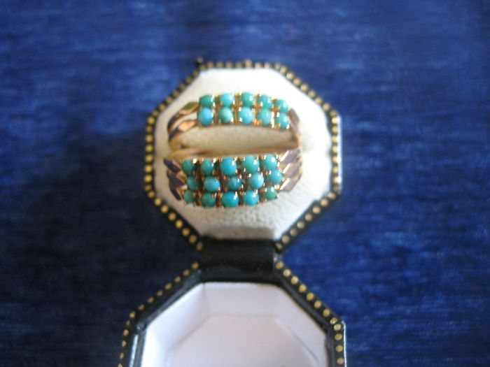 8 kt rose gold - ring, turquoise