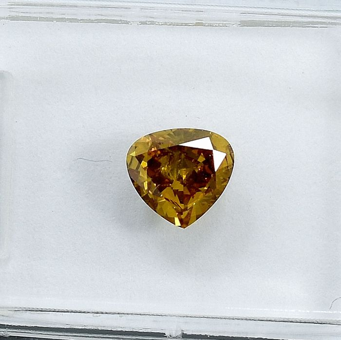 Diamant - 0.53 ct - Poire - Natural Fancy Intense Brownish Yellow - SI2