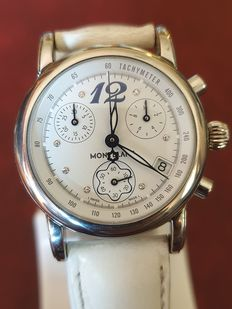 """Montblanc - 7039 Mont Blanc,  """"Mini Star"""" lady's Chronograph in Steel with diamonds - PL651969 - Femme - 2011-aujourd'hui"""