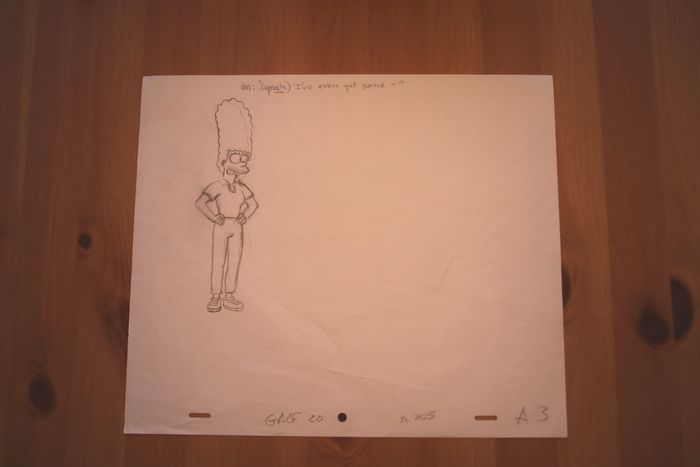 Simpsons - Official pencil drawing of Marge Simpson - Matt Groening - Unique drawing