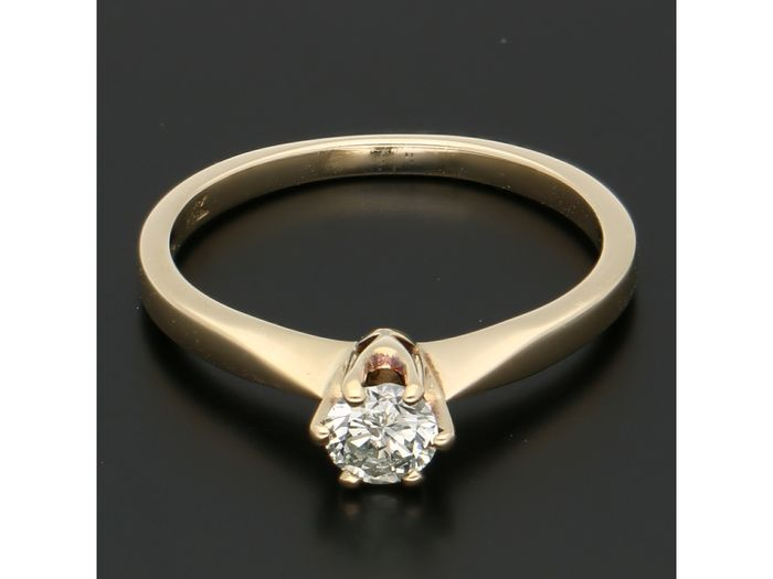 14 kt. Gold - Ring - 0.28 ct Diamond