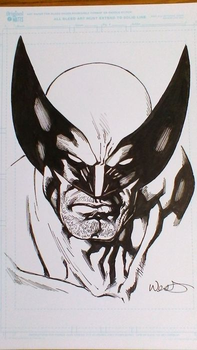 Wolverine - Original illustration by Kevin West on Blueline Original Watts - Ink - A4 size - Wolverine - Loose Sheet - First Edition