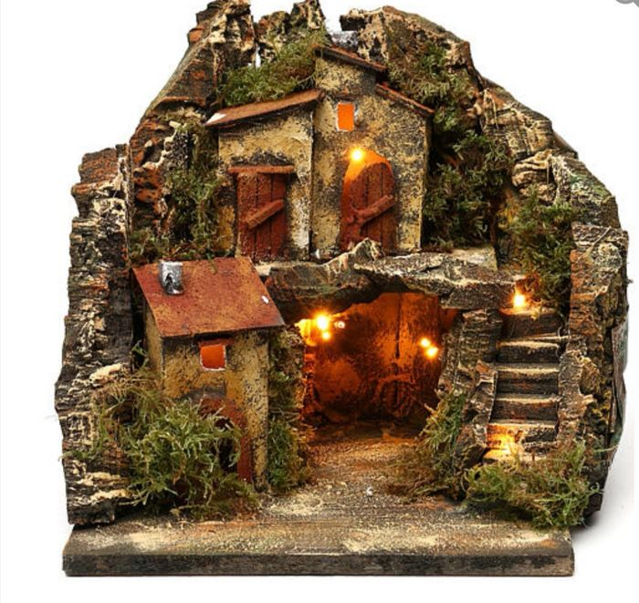 A Neapolitan crib with a cave and a semicircular staircase - Folk art - Cork wood
