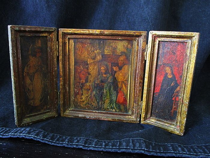 Triptych representing the Nativity early 20th century Italy - Wood