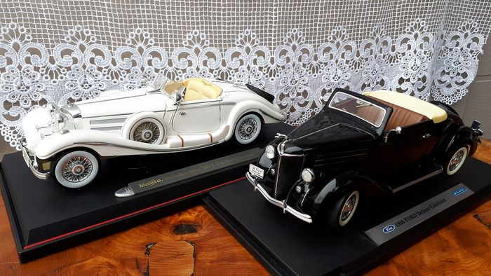 Welly - 1:18 - Ford Deluxe cabriolet 1936 - Mercedes Benz 500k 1936