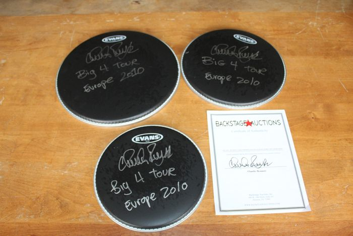 Anthrax - 3 x Hand Signed Concert Used Drum Heads  - Multiple titles - Signed memorabilia (original authograph) - 2010/2010