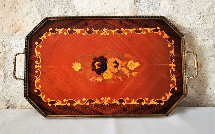 Old serving tray with marquetry work - Rosewood, brass