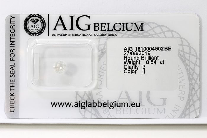 Diamant - 0.54 ct - Brillant - H -   * NO RESERVE PRICE *