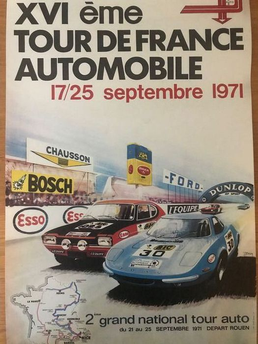 Poster - 1971 Tour De France Original period poster Ford Capri  Rare - 1971-1971
