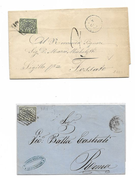 Pontifical State 1852/1852 - 1852 Papal States - postal history - envelopes and fragments - Sassone 3- 2x 3A - 4A - 5A-6