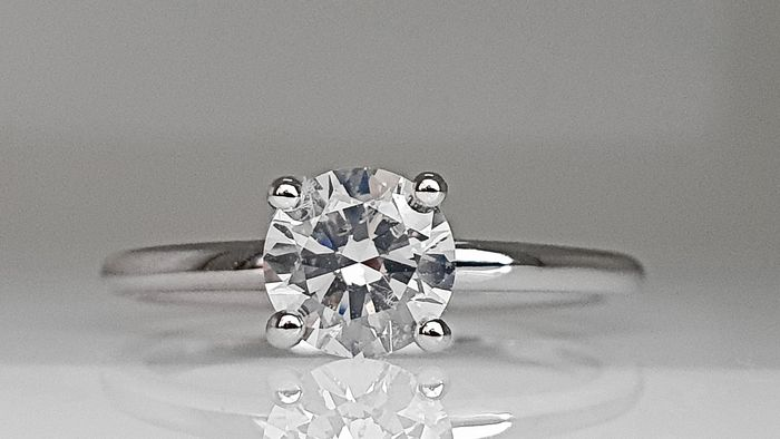 14 karaat Witgoud - Ring - 0.90 ct Diamant - Geen reserve E / SI1