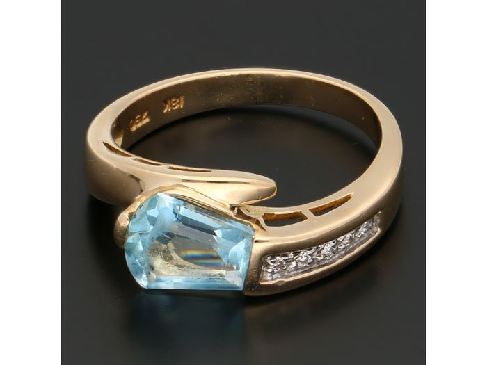 18 carats Or - Bague - 0.02 ct Topaze bleue - Diamant