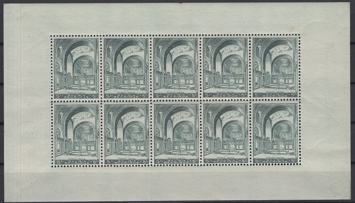 België 1938 - Koekelberg in a small sheet of No. 477 not folded - OBP / COB F477