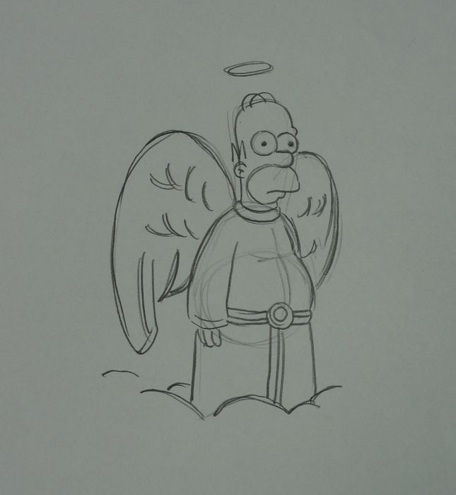 The simpsons - Matt Groening - Homer Simpsons  - dibujo original