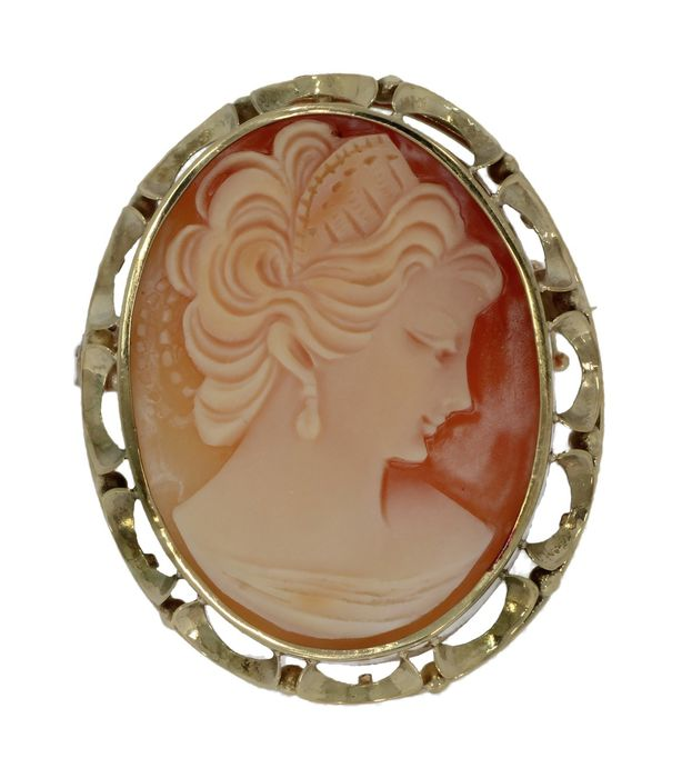 Camee portret - 14 kt. Yellow gold - Brooch