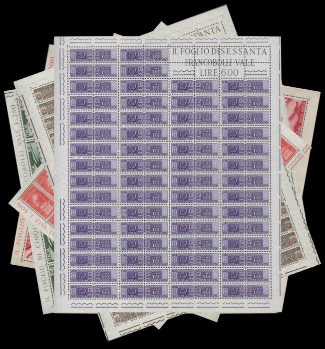 Republiek Italië 1945/1968 - Service stamps, Democratic, Syracuse and Michelangelo in full sheets