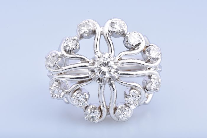 18 kt. White gold - Ring - 1.00 ct Diamond