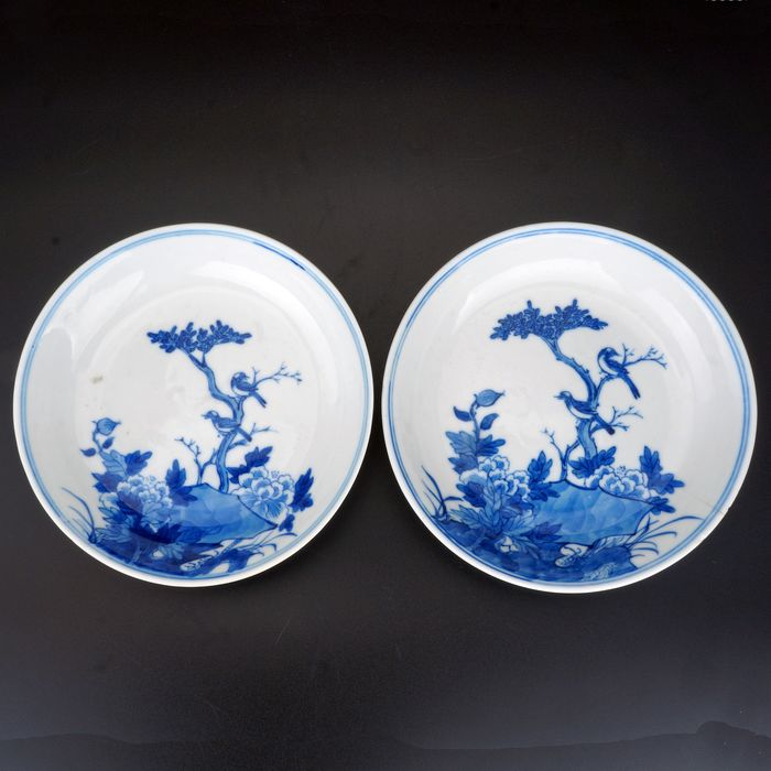 Saucers (2) - Blue and white - Porcelain - Bird - r of Chinese Porcelain Blue and White Saucers with Bird Motif - China - Republic period (1912-1949)