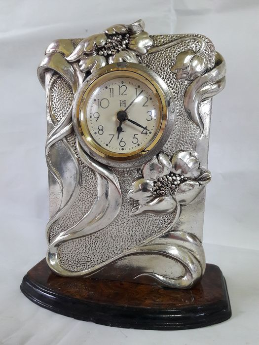 Vintage sculpture with working clock A. Erre - Art Deco - Silver Laminate 925