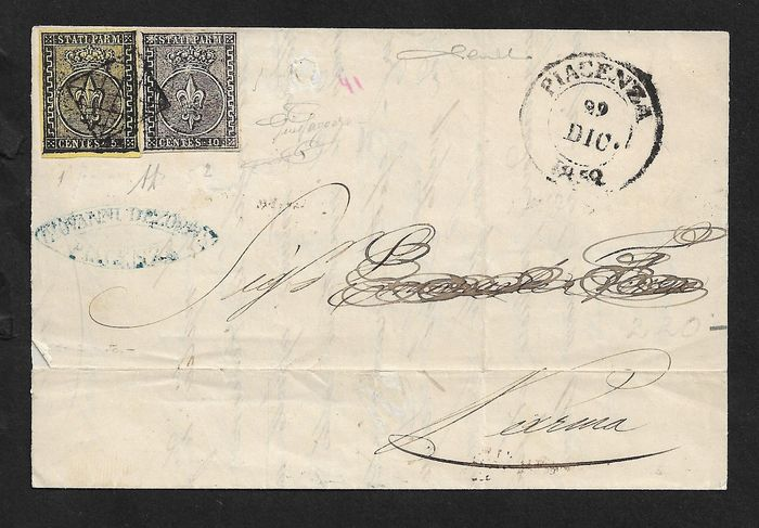 Parma 1852 - 5 cents yellow, 10 cents white on letter from Piacenza to Parma - Sassone N. 1; 2