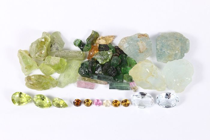 Collection of Tourmaline, Aquamarine, Peridot: Before and After - 55.9 cts, - 11.1 g