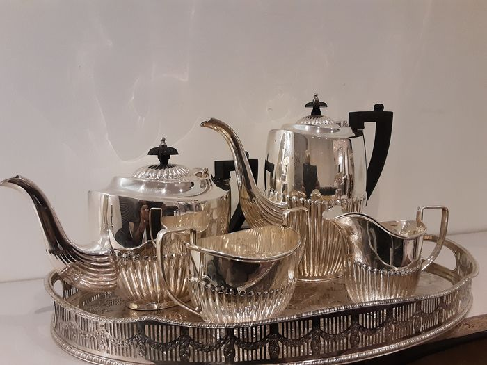 Victorian Tea Set With Tray  (5) - Victorian - Silver plated