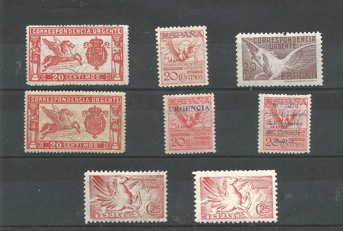 Spanje 1905/1942 - Batch of Express postage stamps. - Edifil 256, 324, 468, 489, 592A, 832, 879 y 952.