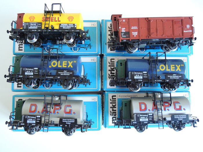 """Märklin H0 - 4674/4675/4676/4695 - Freight carriage - 5 """"D.A.P.G"""", """"Shell"""" and """"Olex"""" tankers and 1 closed goods wagon - DRG, K.W.St.E."""