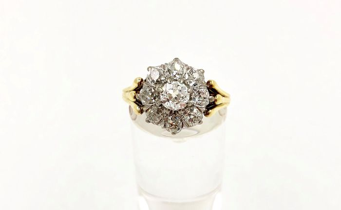 14 quilates Oro amarillo, Oro blanco - Anillo - 1.70 ct Diamante