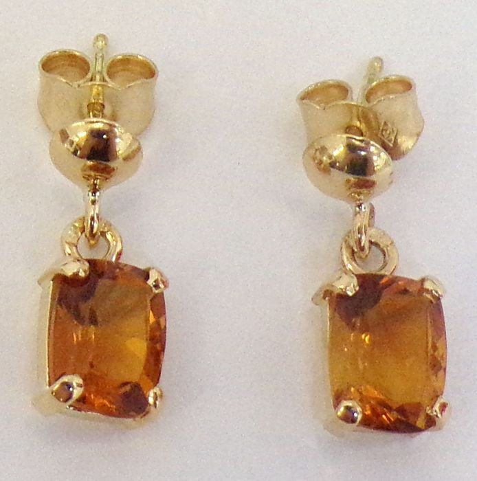 18 quilates Oro, Oro amarillo - Pendientes - 2.20 ct Citrino
