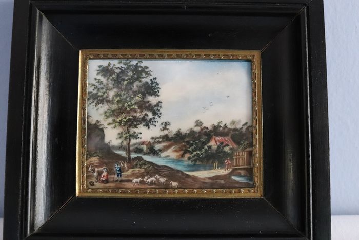 Miniature landscape - wood and brass - Second half 19th century