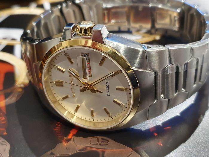 Wittnauer - Classic retro new Date diamind watch with thick deployment bracelet - Homme - 2019