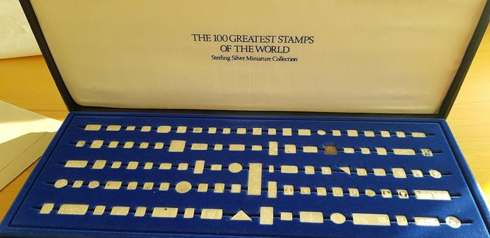 """""""The 100 Greatest Stamps of the World"""" - 120 grams - Silver .925 - Silber - Franklin Mint - Zertifikat"""