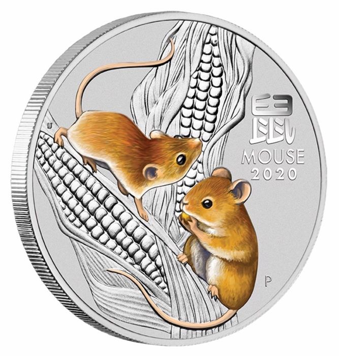 Australia - 1 Dollar 2020 - Year of the Mouse - Color - 1 oz - Silver