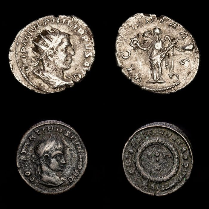 Romeinse Rijk - Lot comprising two coins, Follis and Antoninianus - Philip I (244-249 A.D.) Rome - VICTORIA AVGG and Constantine II Caesar VOT X in wreath. - Brons, Zilver
