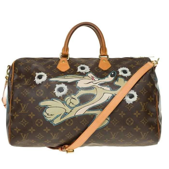 "Louis Vuitton - Speedy 40 avec bandoulière Monogram customisé ""Coyotte, dead or alive"" by PatBo Bandolera"