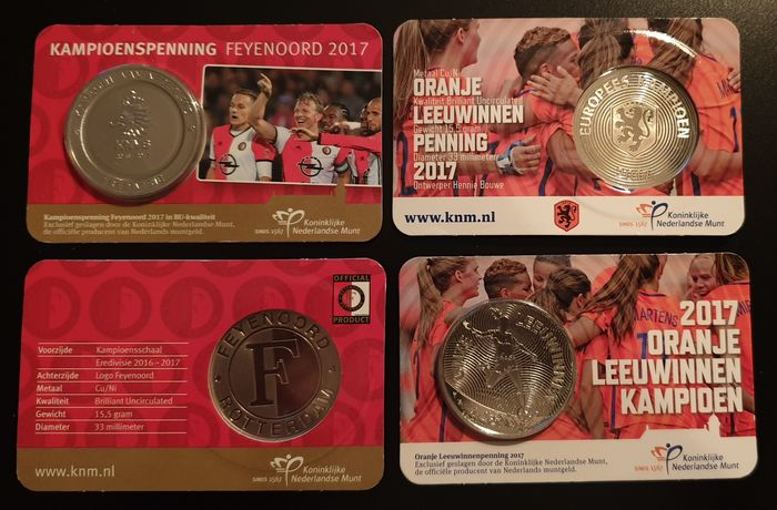 The Netherlands - 2017 - Penning in Coincard, 4 totaal - Copper, nickel