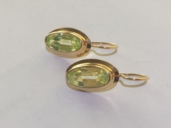 14 K Ouro amarelo - Brincos - 3.00 ct Spinell