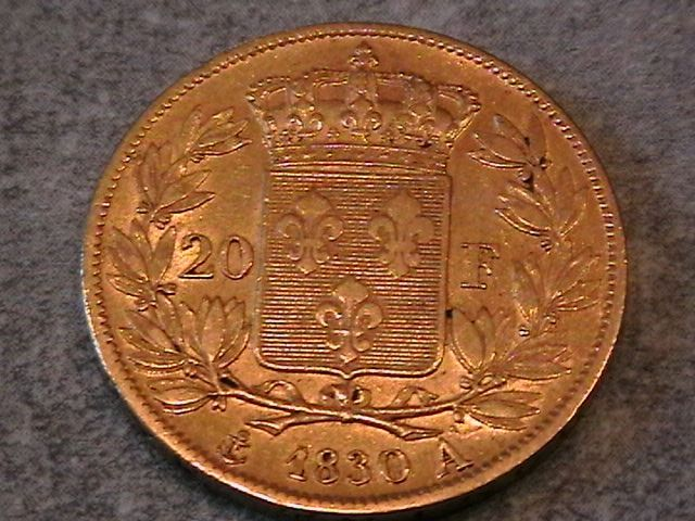 20 Francs 1830 A Charles X - Or